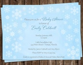 Winter Baby Shower Invitations, Baby Boy, Blue, Gray, Snowflakes, Set of 10 Printed Cards, FREE Shipping, WWLBY, Winter Wonderland Blue