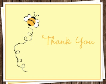 Bee Baby Shower, Sprinkle or Birthday Thank You Cards, Yellow, Gray, Black, Set of 24 Folding Notes, FREE Ship, BBYWY, Babee on the Way