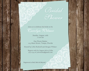 Bridal Shower Invitations, Mint, Green, Lace, White, Wedding, Rustic, Set of 10 Printed Cards, FREE Shipping, MINLA, Simple Lace Mint