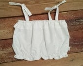 White Crop Top - Baby Toddler Girls Top - Summer, Birthday Pics, Beach- Birthday Gift- Red Gingham Bloomers or Blue Floral Shorties to Match