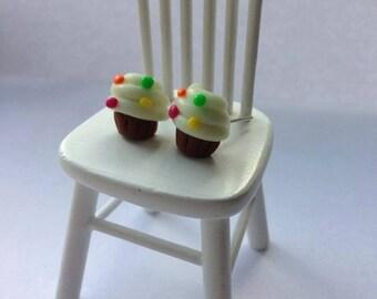 Pair of miniature silver plated Glow in dark cupcake stud earrings Rainbow sprinkles