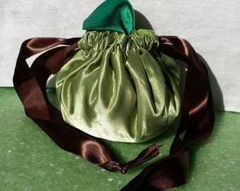 Green Apple Drawstring Bag, purse, tote, - Trick or Treat, Halloween, teacher gift