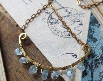 Simple Hammered Brass Auquamarine half moon Necklace -minimalist, light blue, gemstone, wire wrapped, March birthstone