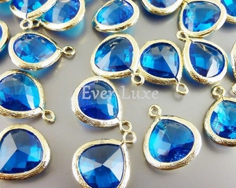 2 capri blue glass pendants, teardrops with gold bezel frame, glass charms, jewelry 5064G-CB-13 (bright gold, capri blue, 13mm, 2 pieces)