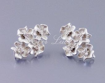 2 Flower bouquet earrings with CZ accent, earring findings E1182-MR