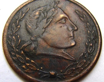 ANTIQUE 1890 TOKEN of ESTEEM United States George 3rd brass Trade token Medallion