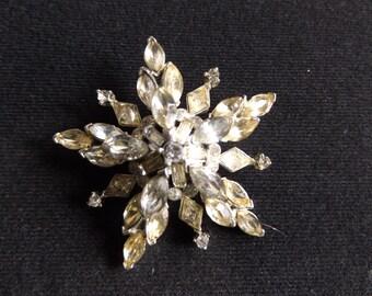 "Beautiful 2"" Vintage Starburst Rhinestone Pin Brooch Silver Plated Setting"