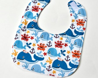 Baby Boy Bib, Baby Accessories, Colorful Whales, Baby Gift, Soft Cotton Baby Bib with Soft Flannel Backing, Gender Neutral