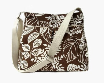 Brown and Cream Fabric Pleated Crossbody Bag - Brown Leaf Print Shoulder Bag - Cross Body Purse - Womens Messenger Bag - Adjustable Strap