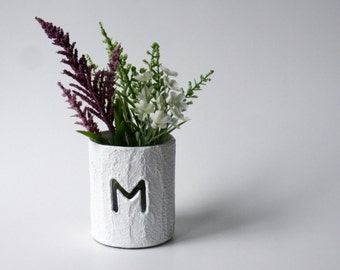 Fully customizable pencil holder or small vase with initial / monogram White pen cup / white cup/ mini vase with initial