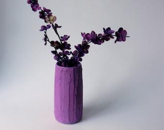 Plum purple Vase / purple Home Decor / Concrete and Glass Vases / deep purple vase