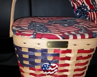 Gorg 1st Edition Longaberger 20th Century  Flag Basket Set --New Cond--HARD Find--Triple signed by Longabegers