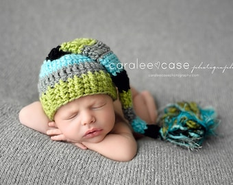 Elf Hat in Aqua, Lime, Black, and Grey with a fringe tail
