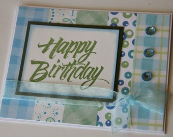 Happy Birthday Card, Striped Birthday Card in Greens and Blues, Stamped Birthday Greeting (BD1506)