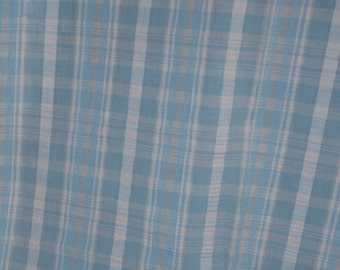 Vintage Fresh Baby Blue Seersucker Cotton Fabric By The Yard