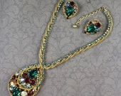 Vintage Multicolored Rhinestone Twisted Golden Rope Teardrop Necklace and Clip On Earrings Set