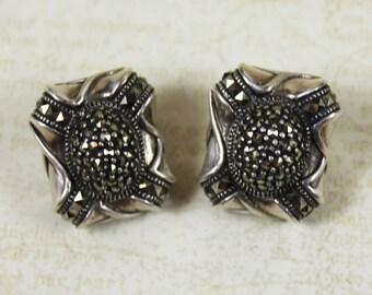 Vintage Sterling Silver Marcasite Judith Jack JJ Clip On Earrings