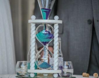 Heirloom Wedding Hourglass - The Wedding Day in Ivory Unity Sand Ceremony Hourglass