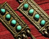 Southwest Sterling Silver Snake Eyes Turquoise Rectangle Dangle Earrings