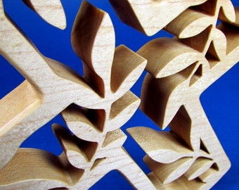 Cross / Leaf Design / Wall Hanging / Hard Maple