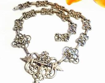 Rare Ornate Italian Renaissance  Fratelli Coppini Peruzzi Sterling Silver Swan Mask Vintage Antique Necklace