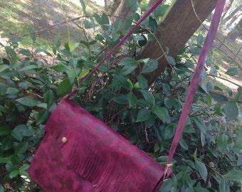 Handmade Distressed Burgundy Boho cross body messenger bag