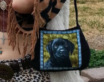 Corduroy Purse / Cute purse / made in USA/dog /black purse/small shoulder bag/puppy applique/ Black Labrador/ print, Item # CJF77-1023