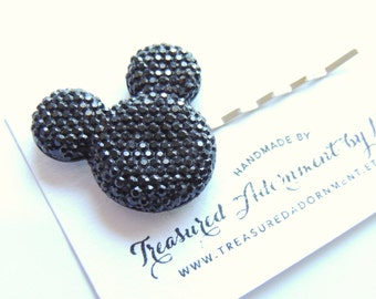 Mickey Mouse Hair pin, Black Pave style Resin Rhinestone, Gift Under 5,  Bobby pin, Hair clip, Photography Prop, Trip to Disneyland, for her