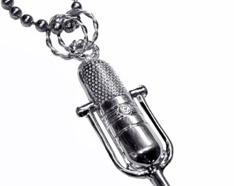 """Vintage style microphone pendant / sterling silver """"live on the air"""""""