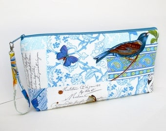 Large Zipper Pouch, French Journal,  Bird Project Bag