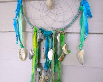 The Siren's Lair. Dreamcatcher Under Sea Dreaming Snare Sari Silk Ocean Pearls and Seashells Dream Catcher Handmade ooak teal mermaid green