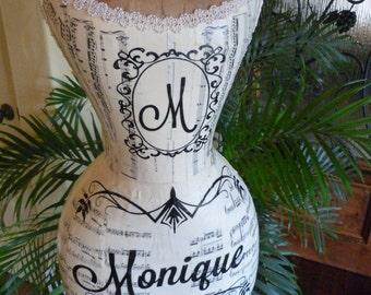 Vintage Inspired Dress Form Mannequin Monogram Wasp Waist  Tatoo Angel Wings  FREE SHIP & LAYAWAY