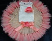 Coral and Gold Tutu Dress, Baby Girls 1st Birthday Outfits