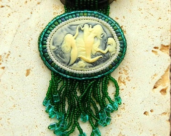 Hand Beaded Mermaid Pendant Cabochon With Bead Fringe Adjustable Black Ribbon Necklace