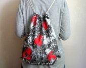 Hand Marbled Red Black Backpack, cotton tote, beach bag, gym bag , bike bag, unisex gift