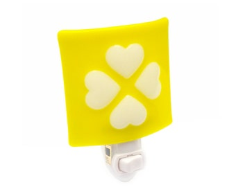 NightLight  - Yellow & White Hearts - Babys Room Nursery Light