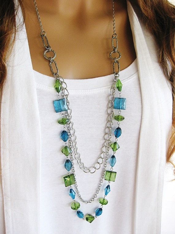 blue and green beaded necklace by ralstonoriginals