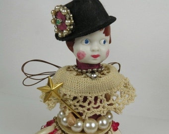 "Assemblage Angel, Art Doll, ""The Rhinestone Fedora""  Assemblage Art Doll"