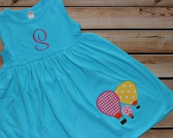 Personalized Turquoise Hot Air Balloon Dress or Swim suit cover up