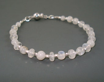 Moonstone Bracelet with Moonstone Gemstone and Sterling Silver Beads, Moonstone Tennis Bracelet