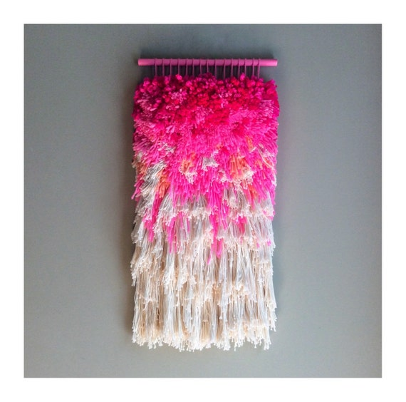 MADE TO ORDER - Woven wall hanging / Furry strawberry dreams // Handwoven Tapestry Weaving Fiber Textile Wall Art Woven Home Decor Jujujust