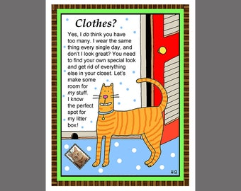 Roommate Card Cat Card Orange Tabby Closet Space Card from Your Cat Clothes Partner Spouse Girlfriend Boyfriend
