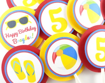 Pool Party Cupcake Toppers, Beach Ball Party Cupcake Toppers, Beach Party, Pool Party Decorations - SET OF 12