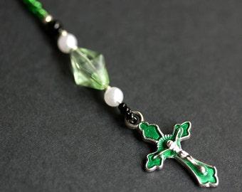 Christian Bookmark. Cross Book Marker. Emerald Green Bookmark. Beaded Book Thong. Crucifix Book Charm.