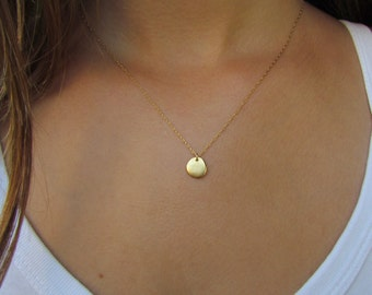 Simple Gold Necklace, Gold Disc Necklace
