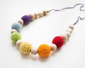 On sale Breastfeeding mom necklace and teething toy for baby  - Rainbow colors Mother. ecofriendly cotton Crochet /