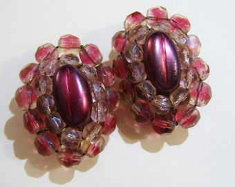 vintage burgandy beaded oval clip on earrings with clear beads Made in Western Germany 515A