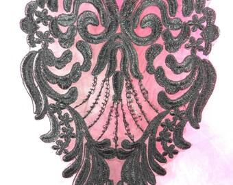 """BL61 Black Floral Venise Lace Applique 10"""" (BL61-bk)"""