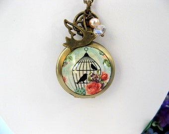 Victorian Rose & Bird Cage Watch Necklace - Dove Pearl Crystal Charms - Women's Watch - Bronze Peach Pearl Jewelry