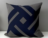 Grey & Navy Blue Outdoor Pillow Cover, Modern Pinwheel, Decorative Cushion Cover, Patio Decor, Charcoal Sunbrella Throw Pillow, Mazizmuse
